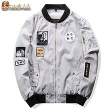 Grandwish 2017 New Men Bomber Jacket Hip Hop Patch Designs Slim Fit Pilot Bomber Jacket Coat Men Jackets Plus Size 4XL,PA573