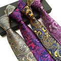 Moda Paisley Laços para Homens Homens Marca Gravata Festa de Casamento de Negócios 8 cm Pescoço Laços Gravata de Poliéster Gravata Noivos Terno Camisa presente