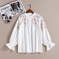 2017 Spring New Arrival Women Fashion Floral Embroidery Mandarin Collar Shirts Female Casual Cotton Petal Sleeve Blouse Shirt