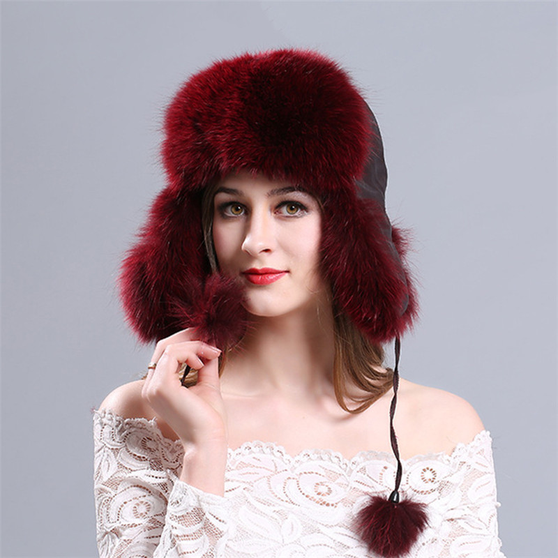 e9df8871d Hot Sale 100% Real Fox Fur Women's Russian Aviator Trapper Snow Skiing Hat  Caps Earflap Winter Raccoon Fur Bomber Hat L#74