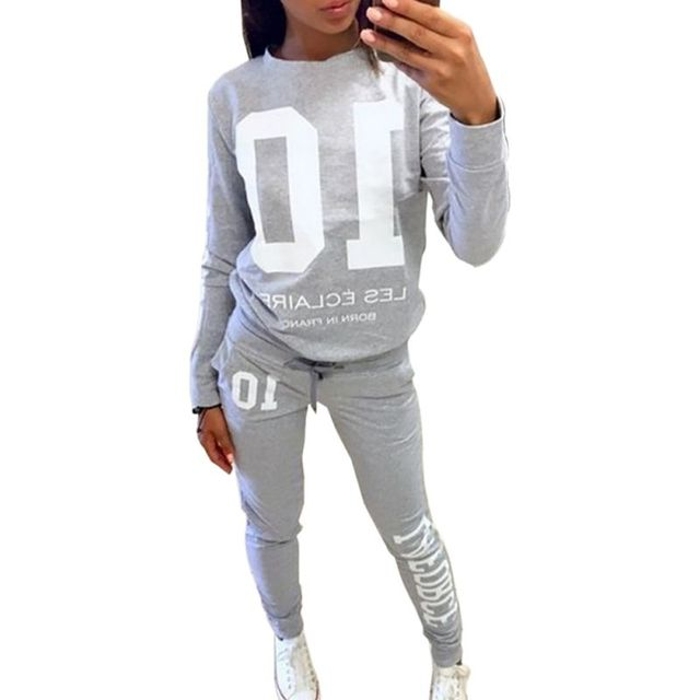 Women 2 pcs Tracksuit Sweats Sweatshirt Pants Sets Wear Casual Suit M01
