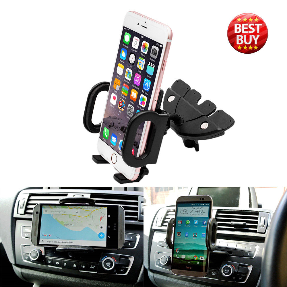 New Universal 360 Degree Car CD Slot Holder Mobile Phone GPS Sat Nav Stand Cradle Mount Auto Stand Dashboard Slot Bracket Black