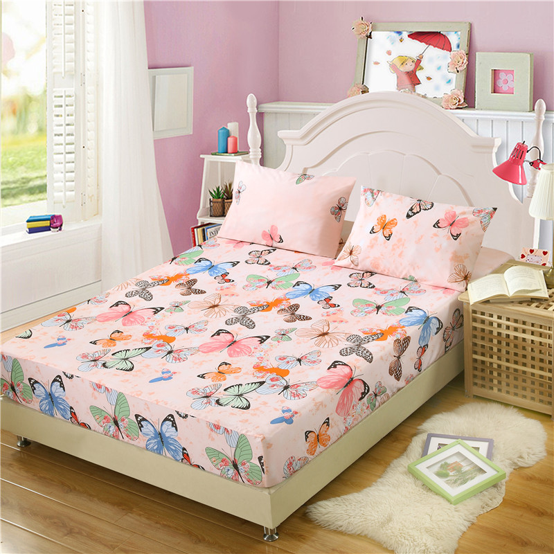 1 piece 100 polyester printed fitted sheet mattress cover bed sheet sheets elastic band queen. Black Bedroom Furniture Sets. Home Design Ideas