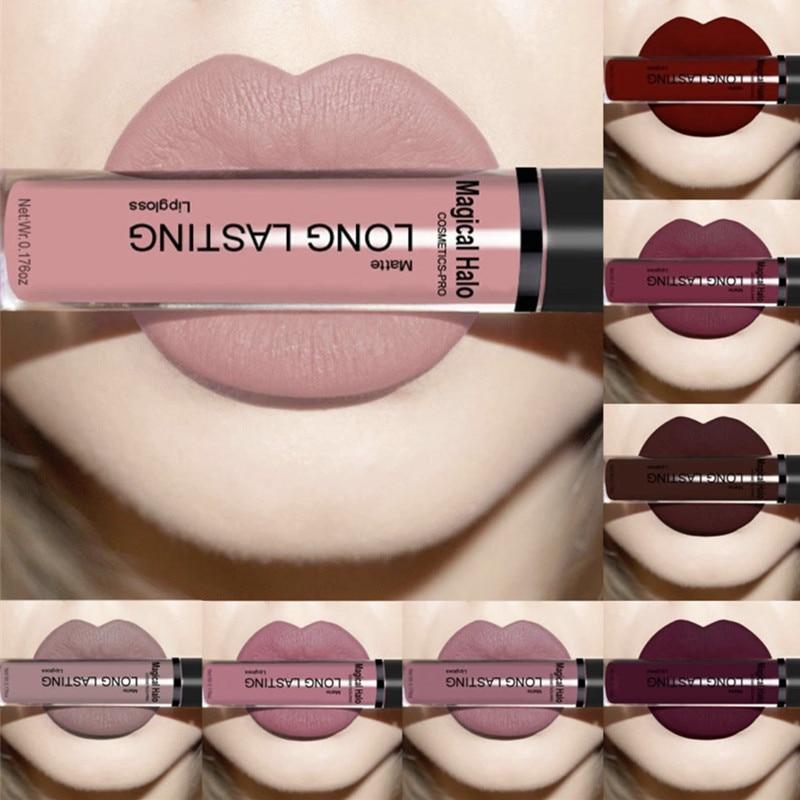 Brand Matte Liquid Lipstick Matte Waterproof Lips Makeup Cosmetic Nude Series Long Lasting Lipgloss Lip Gloss Tint +