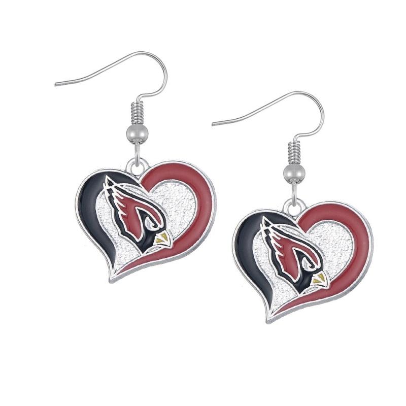 10PCS American Sport Football Arizona Cardinals Charm Fans Earrings Alloy With Enamel American Drop Earrings Jewelry
