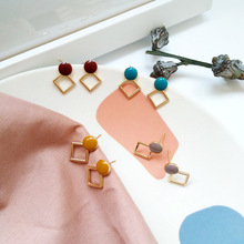 Newest fashion jewelry geometry round enamel with metal golden square drop earrings for women