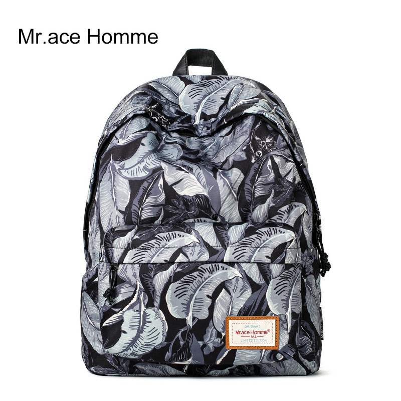 Mr .Ace Homme Printing Backpack Women Korea Style Preppy Travel Backpacks School Bags for Teenagers Girls Men MR15C0163E 2017 new fashion backpacks men travel backpack women school bags for teenagers girls pu leather preppy style backpack