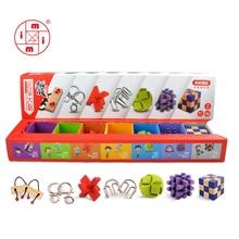 MITOYS 7 шт. замок 3D деревянные классические IQ деревянные головоломки ум головоломки заусенцев игры игрушки для взрослых детей