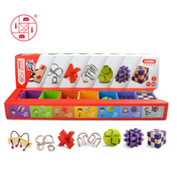 MITOYS 7 PCS Lock 3D Wooden Classic IQ Wooden Puzzle Mind Brain Teasers Burr Puzzles Game Toys for Adults Children