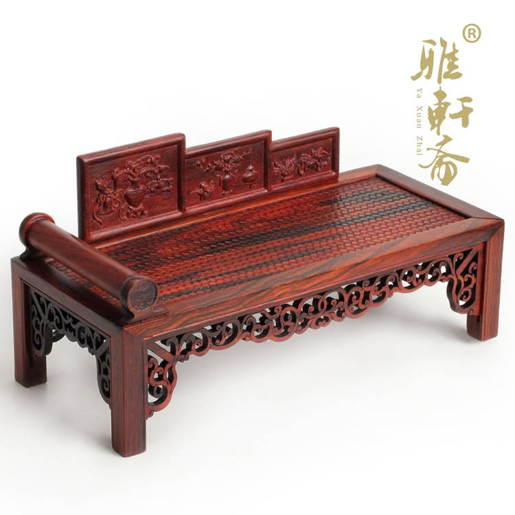 mahogany furniture of ming and qing dynasties miniature crafts wood carving decoration rosewood couch royal bed