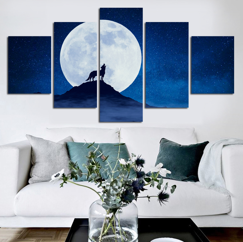 Space Moon Canvas Set Wall Art Wolf Canvas Paintings Modular Picture for Living Room Home Decor Pictures Abstract Painting FA480 1