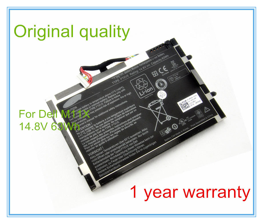 Original PT6V8 Laptop Battery for M11x M14x R1 R2 8P6X6 P06T PT6V8 T7YJR 14.8V 63WH 14 8v 63wh original new laptop battery for dell alienware m11x m14x r1 r2 battery 0w3vx3 08p6x6 pt6v8