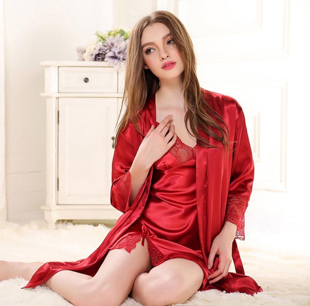 Mujeres Sexy de Satén de Seda Robe Set Vestido de Encaje Conjunto Camisón Albornoz + Por Encima de La Rodilla