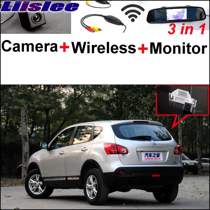 Liislee For Nissan Qashqai Dualis 3 in1 Special Rear View Camera + Wireless Receiver + Mirror Monitor Easy DIY Parking System 3 in1 special rear view camera wireless receiver mirror monitor easy diy backup parking system for jeep liberty 2002 2007