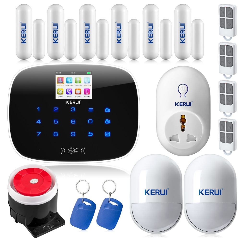 Original KERUI G19 TFT color Screen Wireless GSM Home Alarm System SIM Card Phone call sms Alarm Security Smart Socket