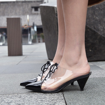 YMECHIC Summer 2019 Womans Shoes Spike High Heels Pointed Toe Daily Cross Tied Woman Slippers Mules Ladies Slides White Black