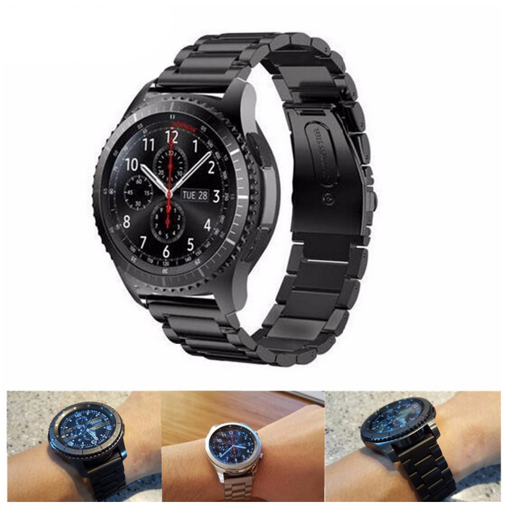 22mm Stainless Steel Watch Band for Samsung Gear S3 Class/Frontier Link bracelet Wrist band for samsung s3 gear black band stylish 8 led blue light digit stainless steel bracelet wrist watch black 1 cr2016