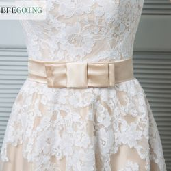 A-line Wedding Dress - Champagne Ankle-length V-neck Lace / Satin / Tulle  Custom made 2