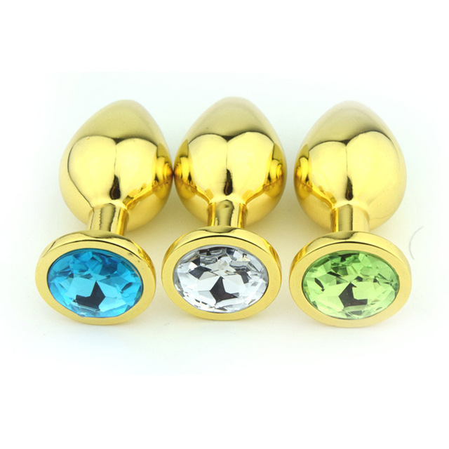 Multi color Mid Gold Metal Anal Plug Stainless Steel Butt Plugs Toys Sex Toys for Women Man Crystal Jewelry Sex Anal Products