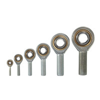 1Set 6 18mm 6 Sizes Dia Silver Male Threaded Single Row Joint Rod End Oscillating Bearing Right Hand Thread Shafts