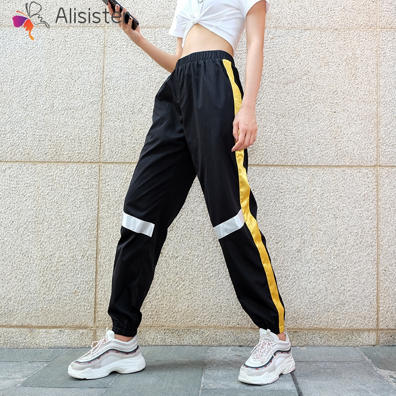 2019 New Yellow Striped Patchwork   Pants   Joggers Elastic High Waist Women Harem   Pants     Capri   Loose Fashion Female Sweatpants