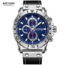 цена Megir Men's Sports Watches Chronograph Quartz Watch Man Leather Strap Military Wristwatch 3 ATM Waterproof Relogios 2081Blue онлайн в 2017 году