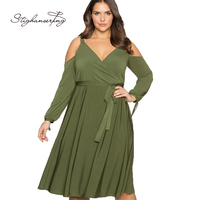 Women Plus Size Cold Shoulder Long Sleeve Dress Deep V Neck Solid Pleated Basic Dress Large Size Casual Dress