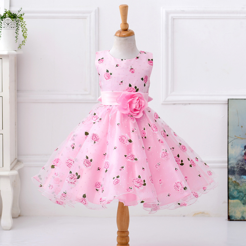 Summer Lovely Flower Bow Bowknot Pink Ball Gown Princess Girls Kids Birthday Wedding Dress Tutu Costume Prom Party 3 4 5 6 7 y acrylic pink lollipop lovely