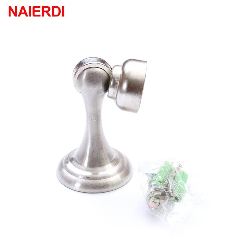 NAIERDI Magnetic Door Stops Stainless Steel Door Stopper Holder Catch Floor Fitting With Screws For Home Bedroom Toilet Hardware
