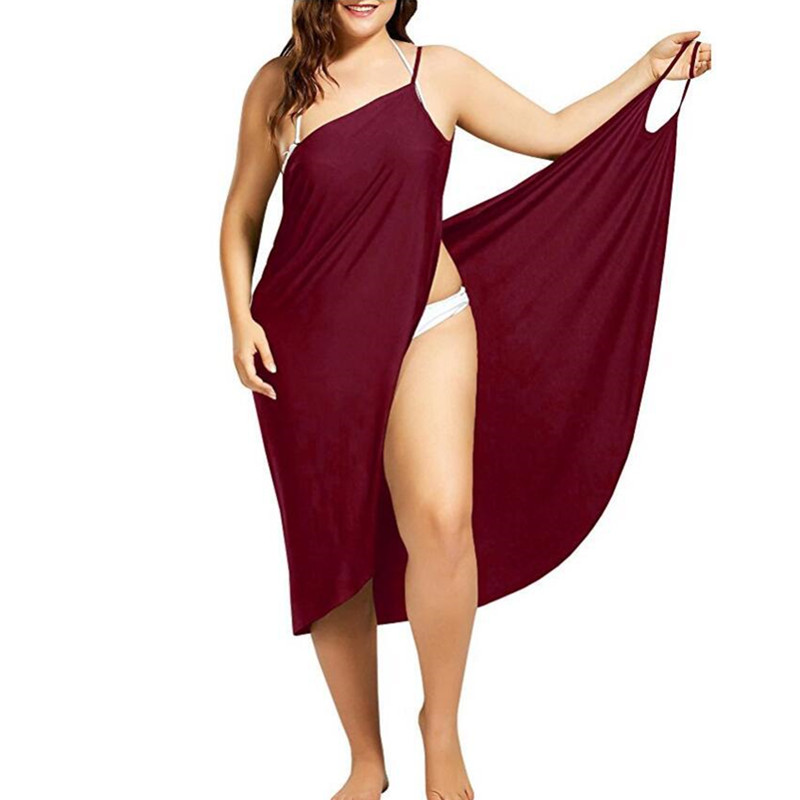 Wine Red Sarong Beach Dress 2019 Holiday Beachwear Women Summer Dress Beach Sexy Robe Spaghetti Straps Big Size Wrap Vestido 5XL