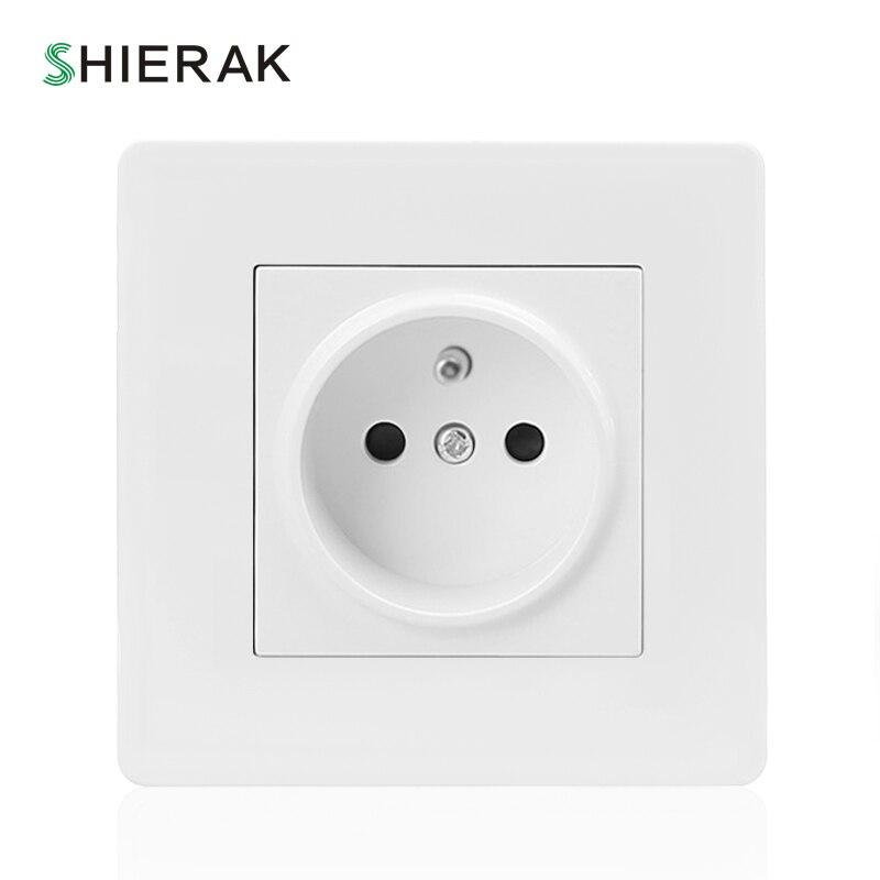 Shierak 2017 Nuevo francés enchufe de pared estándar panel de plástico blanco enchufe eléctrico soquete AC 110 ~ 250 V 16A francia enchufe