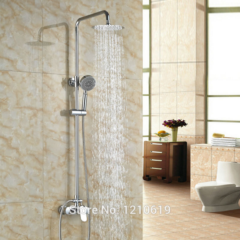 Newly Modern Style Bathroom Shower Set Faucet w/ Handheld Sprayer Chrome Finish 8 Shower Mixer Tap new shower faucet set bathroom faucet chrome finish mixer tap w abs handheld shower wall mounted
