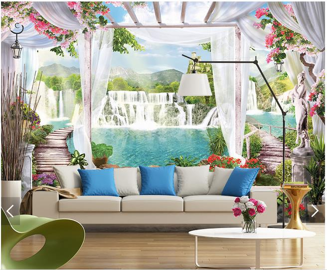 Custom 3d photo wallpaper 3d wall murals wallpaper Modern landscape setting wall background wall paper 3d