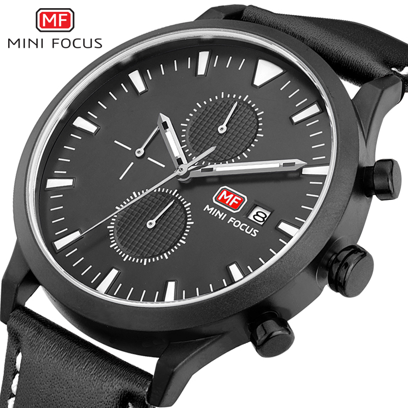 MINI FOCUS Luxury Brand Men Analog Leather Sports Watches Men's Army Military Watch Man Quartz Clock Relogio Masculino weide new men quartz casual watch army military sports watch waterproof back light men watches alarm clock multiple time zone