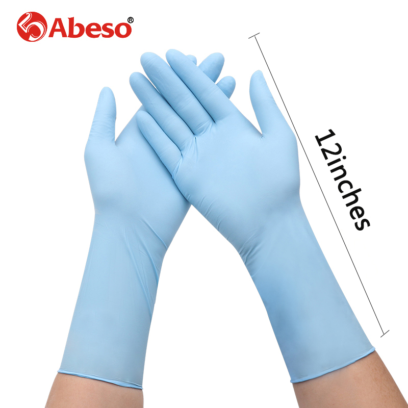 100 Pcs Wholesale Lengthen 12 Inches Blue Nitrile Disposable Rubber Gloves Thick Duable Household Waterproof Industrial Gloves