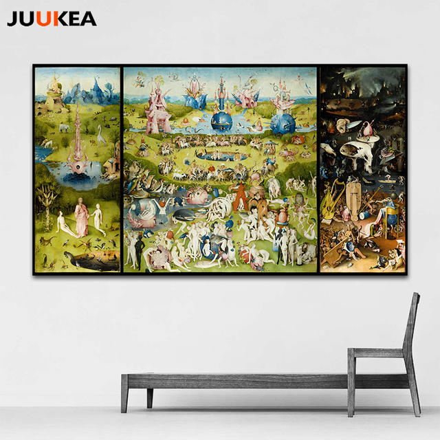 The Garden Of Earthly Delight And Hell By Hieronymus Bosch HD Details  Canvas Print Painting Art