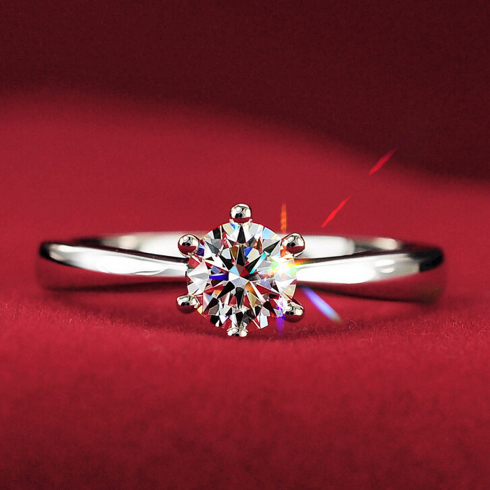 2018 New 1.2carat 6claws large rhinestone Rings women white gold color Engagement alliance USA size