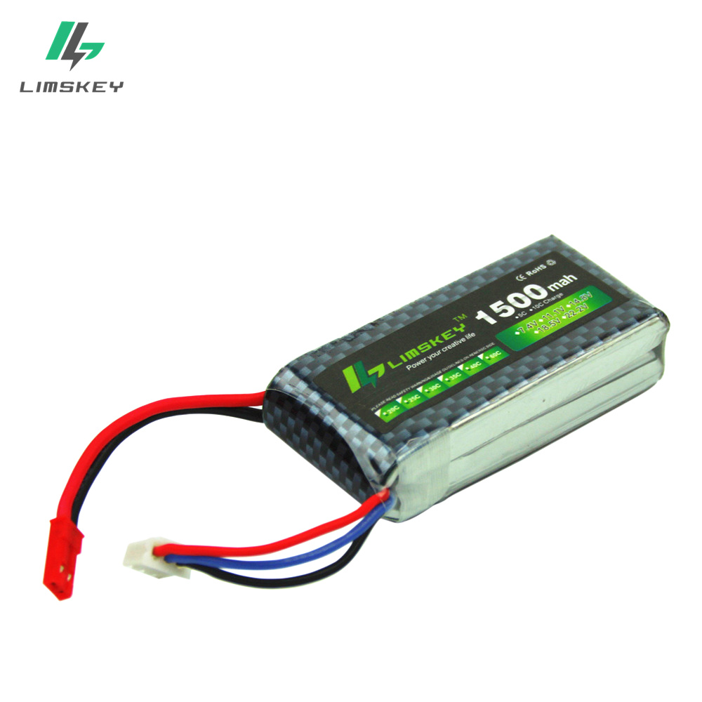Limskey Power JST 7.4V 1500mAh Lipo Battery To T-Plug for Helicopter Airplane Car 7.4 V 1500 mAh 2S 25C battery image