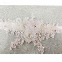 RSS34 Flowers Appliques Beaded Satin Bridal Sash Cinturon Flores Wedding Belt