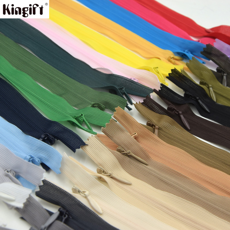 25cm/60cm 20pcs Invisible Zippers With Lace Tape , 3# Close-end Long Zipper For Sewing, DIY Sewing Kits, Garment Accessorie