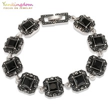 Yunkingdom square three color resin ancient silver color charm bracelets for women vintage jewelry 2018 armbandjes(China)