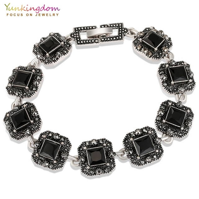 Yunkingdom square three color resin ancient silver color charm bracelets for women vintage jewelry 2018 armbandjes