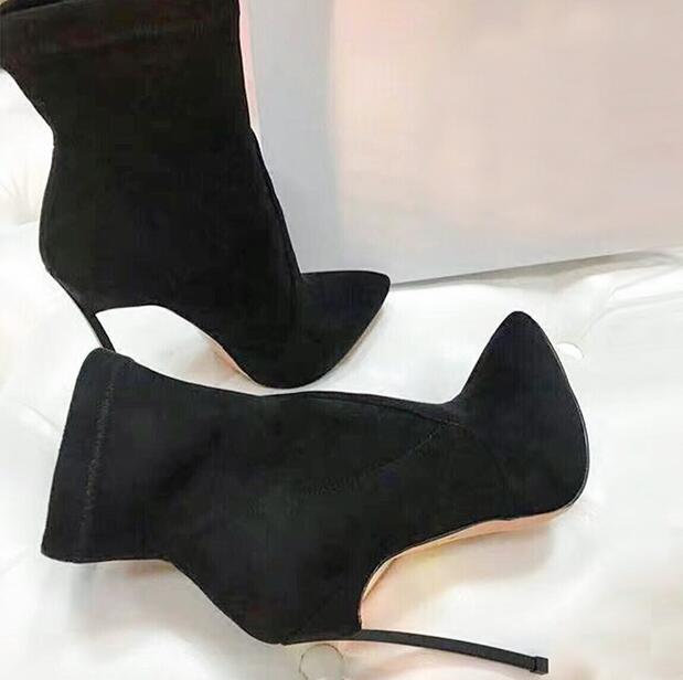 2018 Newest 12CM Slip On Stretch Boots Stiletto Boots Faux Black Suede Leather Women Pointy Toe Ankle Boots Sexy High Heel Boots 2018 new suede leather patchwork women flodover mid calf boots sexy pointy toe ladies blade heel boots zipper knight boots