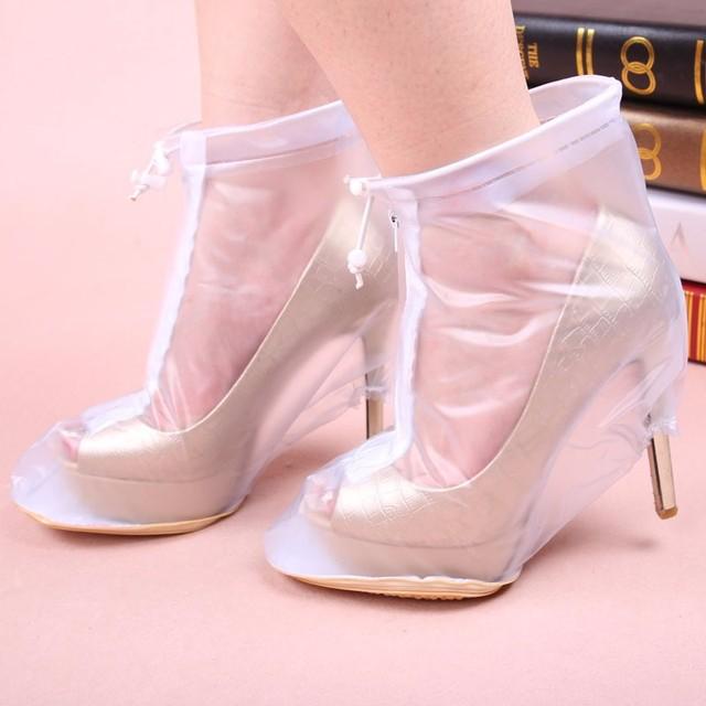 49cb8e56c368 1Pairs PVC Waterproof Rain High Heels Shoes Cover