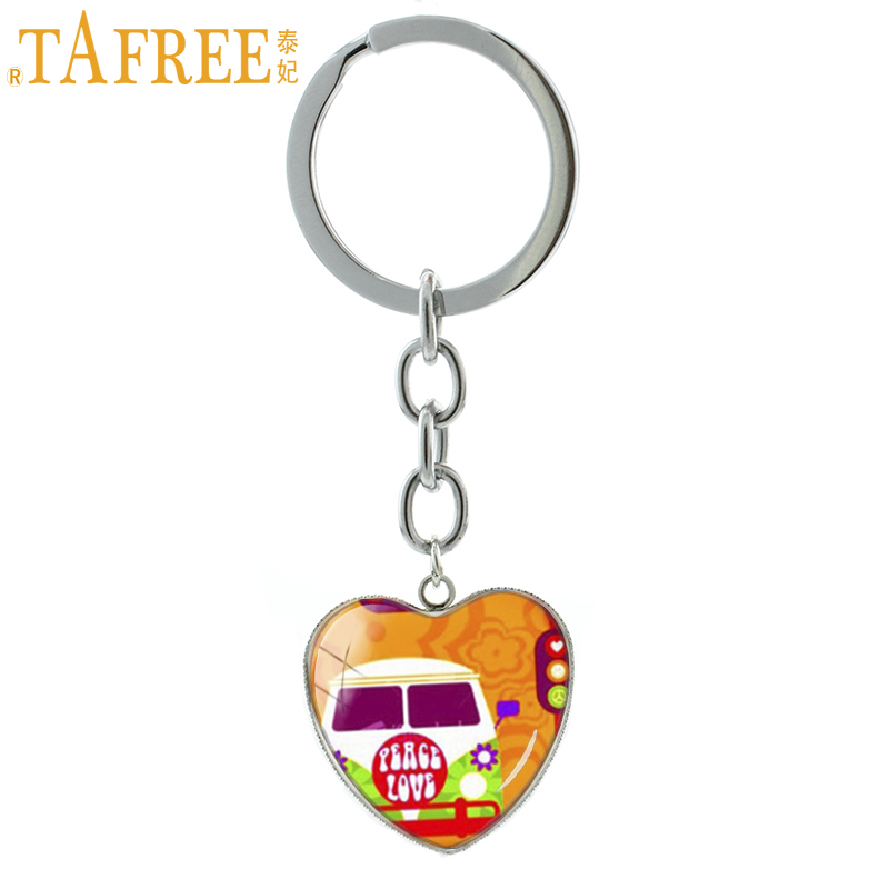TAFREE Sign Peace key chains ring Hippie stop wars glass cabochon heart pendant keychain jewelry novelty new fashion gift HP204