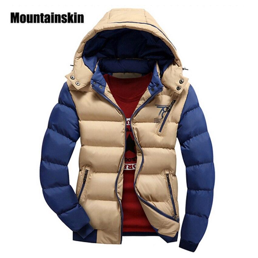 Mountainskin 2017 4XL uomini Giacca Parka di Spessore Con Cappuccio Cappotti Uomini Termali Calde Giacche Casual Maschile Tuta Sportiva Abbigliamento di Marca SA076