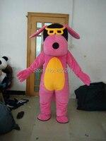Розовый собака костюм талисмана с очками Прохладный мультфильм собака костюмы желтый живот высокого качества eva голову, цвет и размер подго