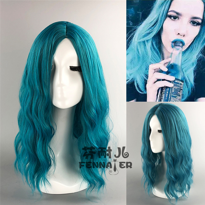 Halsey Wigs 50cm Half Long Central Middle Parting Curly Styled Synthetic Hair Cosplay Costume Wigs + Wig Cap