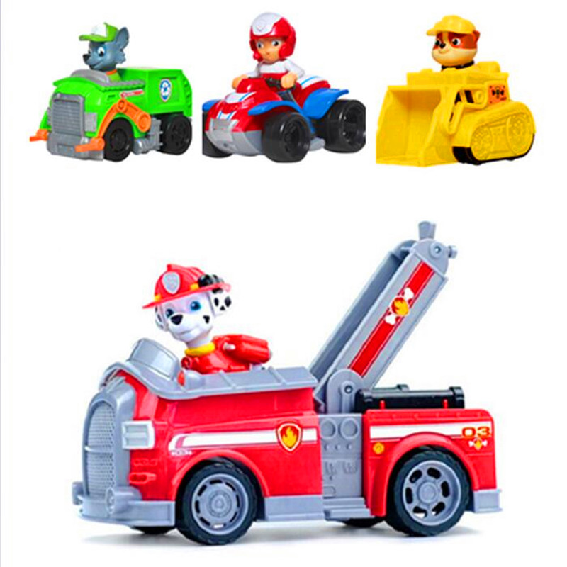 4Pcs/set Paw patrol Dog Mashall Anime Toys Figurine Car Toy Action Figure model patrulla canina toys Children Gifts
