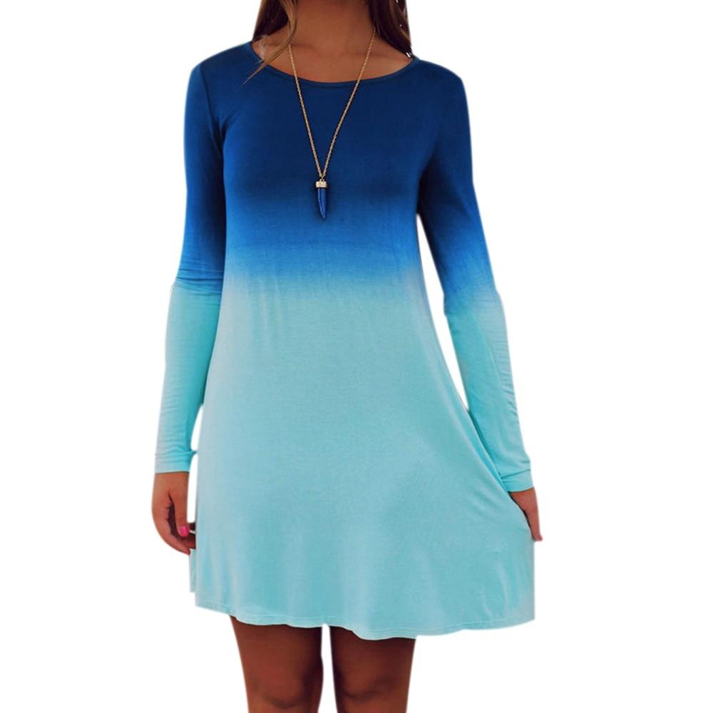 Women fashion 2017 dress plus size 4XL dress women dress long sleeve Casual Loose Gradient Color Short Dress